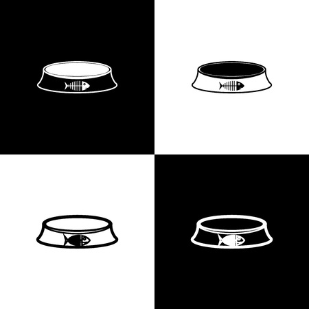 Set Pet food bowl for cat or dog icons isolated on black and white background. Fish skeleton sign. Vector Illustration