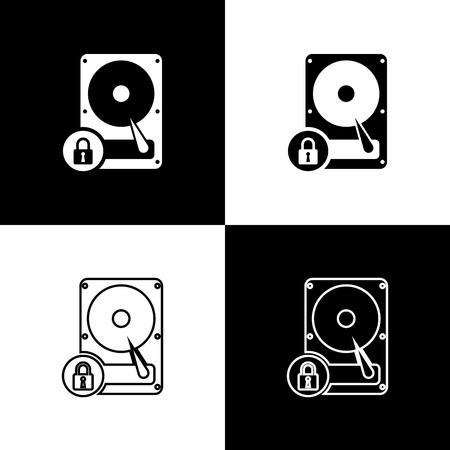 Définir les icônes de disque dur et de verrouillage isolés sur fond noir et blanc. HHD et cadenas. Concept de sécurité, de sécurité, de protection. Illustration vectorielle Vecteurs