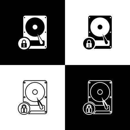Set Hard disk drive and lock icons isolated on black and white background. HHD and padlock. Security, safety, protection concept. Vector Illustration 向量圖像