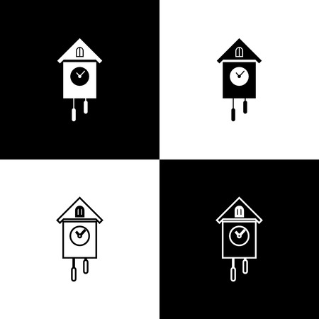 Set Retro wall watch icons isolated on black and white background. Cuckoo clock sign. Antique pendulum clock. Vector Illustration