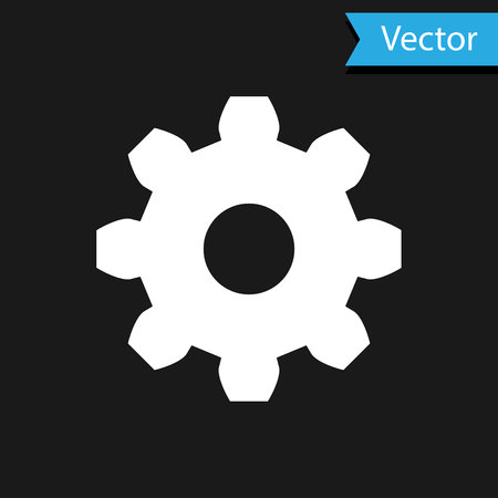 White Gear icon isolated on black background. Cogwheel gear settings sign. Cog symbol. Vector Illustration