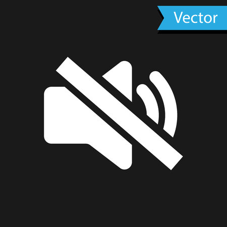 White Speaker mute icon isolated on black background. No sound icon. Volume Off symbol. Vector Illustration