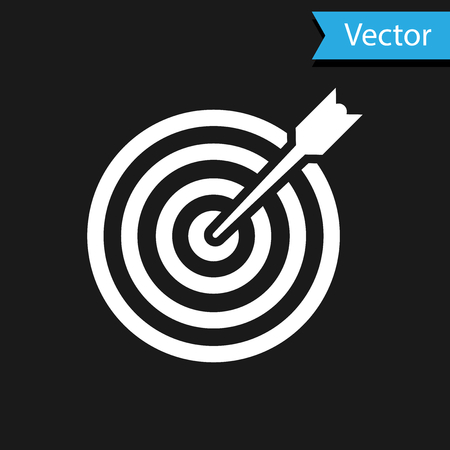 White Target with arrow icon isolated on black background. Dart board sign. Archery board icon. Dartboard sign. Business goal concept. Vector Illustration Illustration