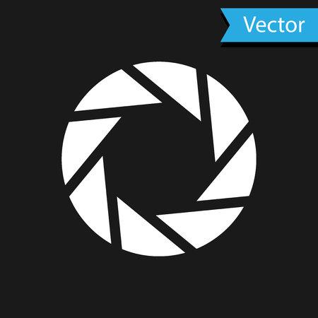 White Camera shutter icon isolated on black background. Vector Illustration 向量圖像