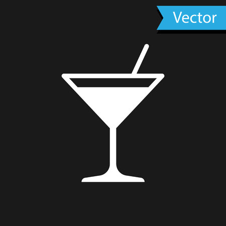 White Martini glass icon isolated on black background. Cocktail icon. Wine glass icon. Vector Illustration 矢量图片
