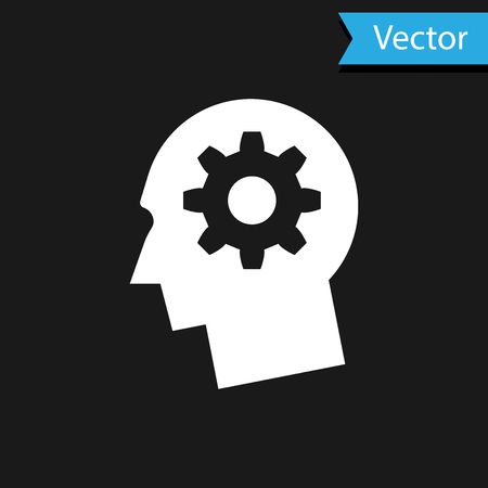 Biała ludzka głowa z biegiem wewnątrz ikony na białym na czarnym tle. Sztuczna inteligencja. Myślący znak mózgu. Symbol pracy mózgu. Ilustracja wektorowa