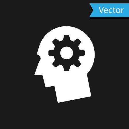 Tête humaine blanche avec engrenage à l'intérieur de l'icône isolé sur fond noir. Intelligence artificielle. Signe du cerveau pensant. Travail de symbole du cerveau. Illustration vectorielle