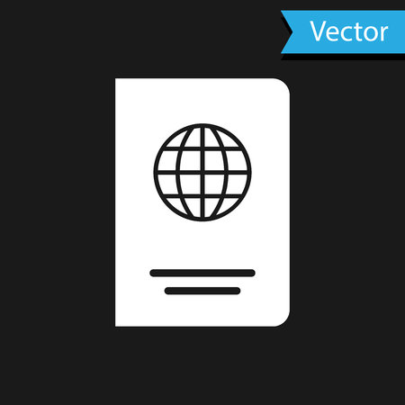 White Passport with biometric data icon isolated on black background. Identification Document. Vector Illustration Vector Illustration