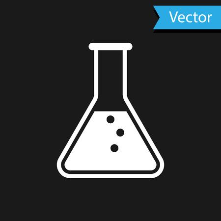 Tube à essai blanc et flacon - icône de test de laboratoire chimique isolé sur fond noir. Illustration vectorielle Vecteurs