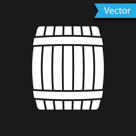 White Wooden barrel icon isolated on black background. Vector Illustration Vetores