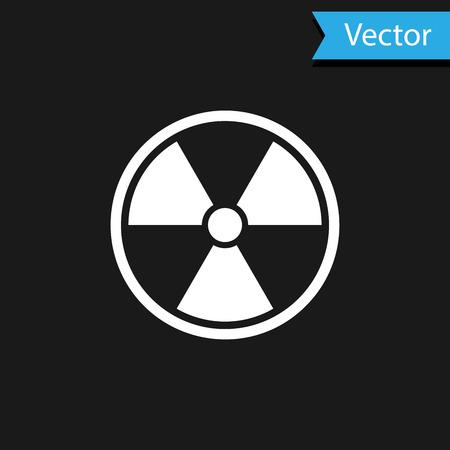 White Radioactive icon isolated on black background. Radioactive toxic symbol. Radiation Hazard sign. Vector Illustration Ilustração