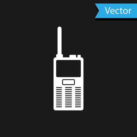 White Walkie talkie icon isolated on black background. Portable radio transmitter icon. Radio transceiver sign. Vector Illustration