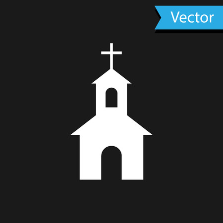White Church building icon isolated on black background. Christian Church. Religion of church. Vector Illustration
