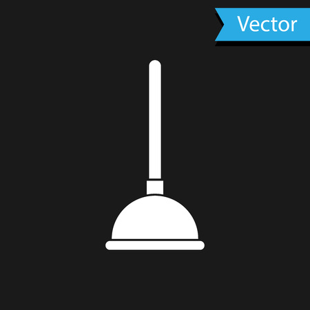 White Rubber plunger with wooden handle for pipe cleaning icon isolated on black background. Toilet plunger. Vector Illustration Imagens - 123540506