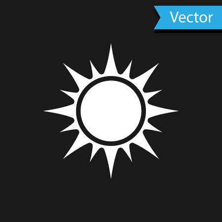 White Sun icon isolated on black background. Vector Illustration