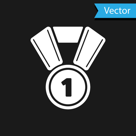 White Medal icon isolated on black background. Winner symbol. Vector Illustration