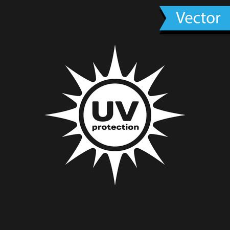 White UV protection icon isolated on black background. Ultra violet rays radiation. SPF sun sign. Vector Illustration Illustration