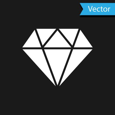 White Diamond sign isolated on black background. Jewelry symbol. Gem stone. Vector Illustration
