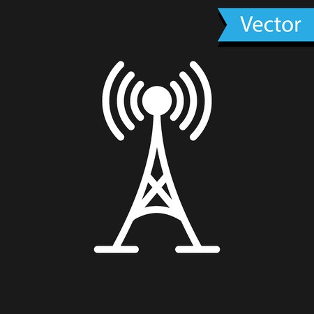 White Antenna icon isolated on black background. Radio antenna wireless. Technology and network signal radio antenna. Vector Illustration