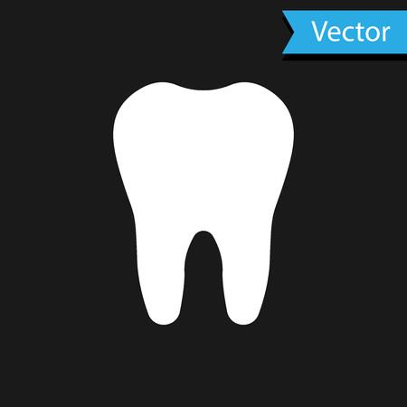 Icono de diente blanco aislado sobre fondo negro. Símbolo de diente para clínica de odontología o centro médico dentista y paquete de pasta de dientes. Ilustración vectorial