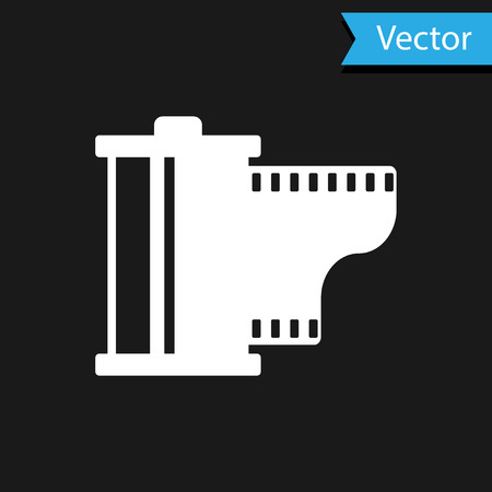 White Camera vintage film roll cartridge icon isolated on black background. Film reel icon. 35mm film canister. Filmstrip photographer equipment. Vector Illustration Illustration