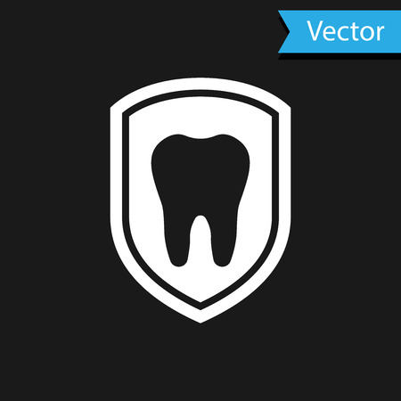White Dental protection icon isolated on black background. Tooth on shield logo icon. Vector Illustration