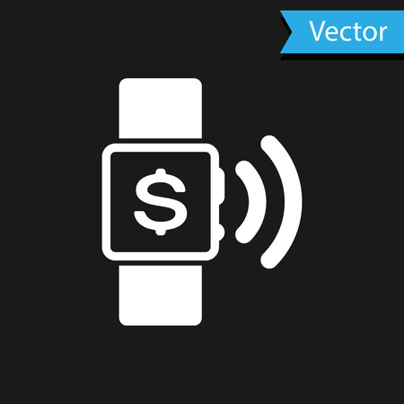 White Contactless payment icon isolated on black background. Smartwatch with nfc technology making wireless contactless transactions. Vector Illustration