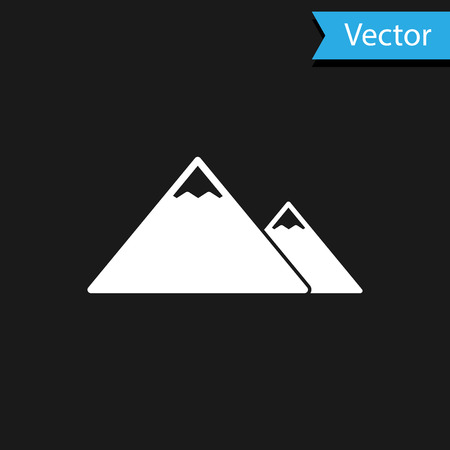 White Mountains icon isolated on black background. Symbol of victory or success concept. Vector Illustration Ilustração