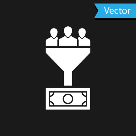 White Lead management icon isolated on black background. Funnel with people, money. Target client business concept. Vector Illustration
