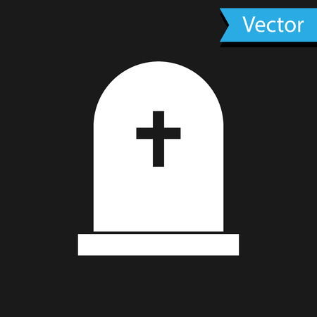 White Tombstone with cross icon isolated on black background. Grave icon. Vector Illustration Çizim