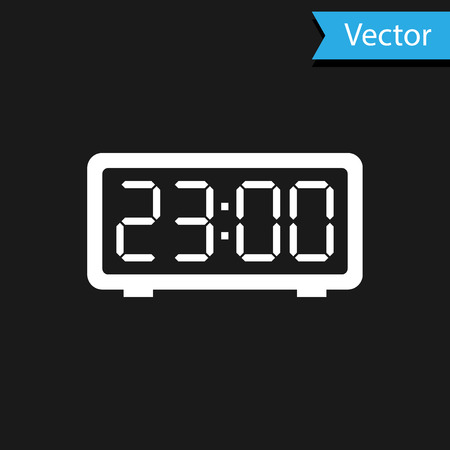 White Digital alarm clock icon isolated on black background. Electronic watch alarm clock. Time icon. Vector Illustration  イラスト・ベクター素材