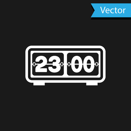White Retro flip clock icon isolated on black background. Wall flap clock, number counter template, all digits with flips. Vector Illustration