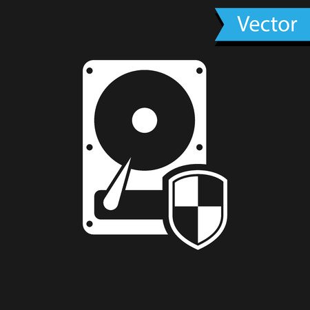 White Hard disk drive HDD protection icon isolated on black background. Vector Illustration Ilustrace