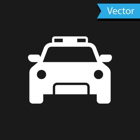 White Police car and police flasher icon isolated on black background. Emergency flashing siren. Vector Illustration