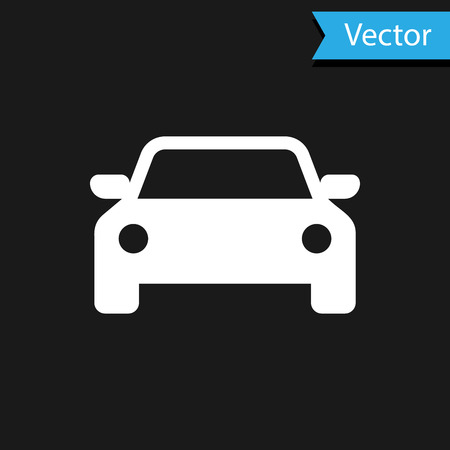 White Car icon isolated on black background. Vector Illustration