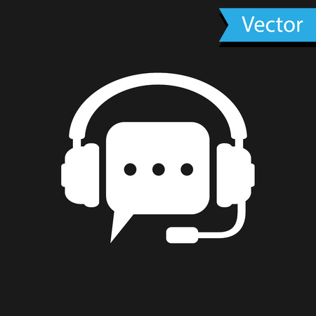 White Headphones with speech bubble icon on black background. Support customer services, hotline, call center, guideline, faq, maintenance, assistance. Vector Illustration