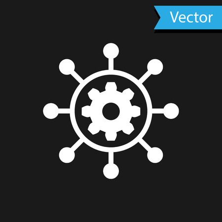 White Project management icon isolated on black background. Hub and spokes and gear solid icon. Vector Illustration Illusztráció