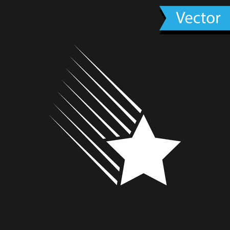 White Falling star icon isolated on black background. Shooting star with star trail. Meteoroid, meteorite, comet, asteroid, star icon. Vector Illustration Illustration