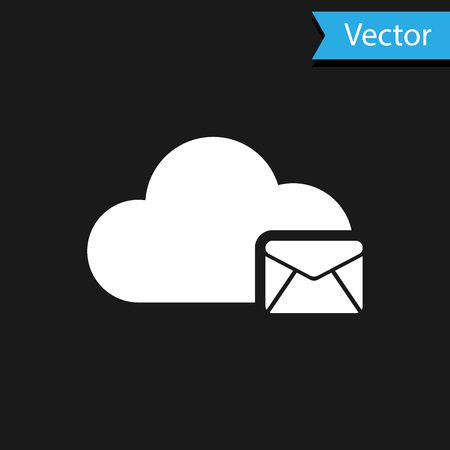 White Cloud mail server icon isolated on black background. Cloud server hosting for email. Online message service. Mailbox sign. Vector Illustration Ilustrace