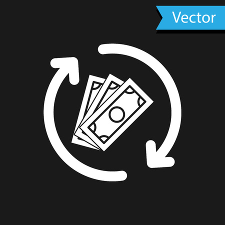 White Refund money icon isolated on black background. Financial services, cash back concept, money refund, return on investment, savings account. Vector Illustration 矢量图像