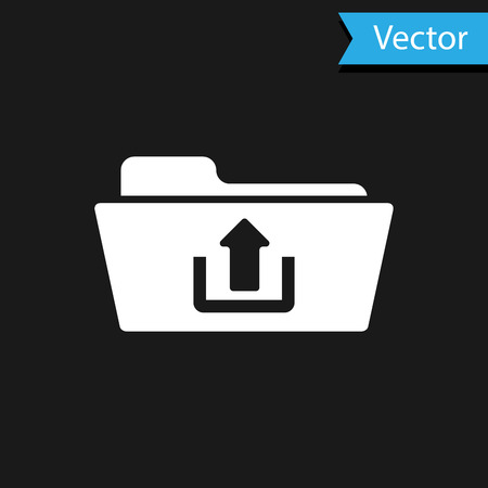 White Folder upload icon isolated on black background. Vector Illustration