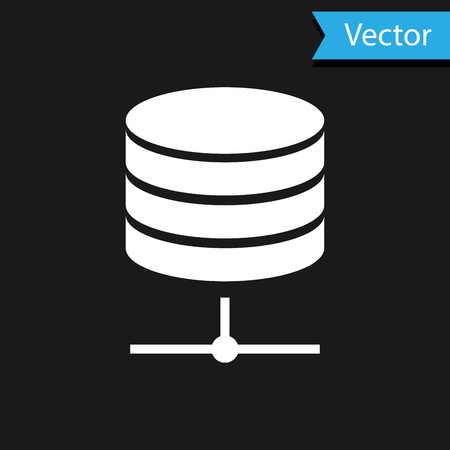 White Server, Data, Web Hosting icon isolated on black background. Vector Illustration