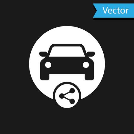 Icône de partage de voiture blanche isolée sur fond noir. Signe d'autopartage. Concept de service de location de transport. Illustration vectorielle