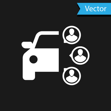 White Car sharing with group of people icon isolated on black background. Carsharing sign. Transport renting service concept. Vector Illustration