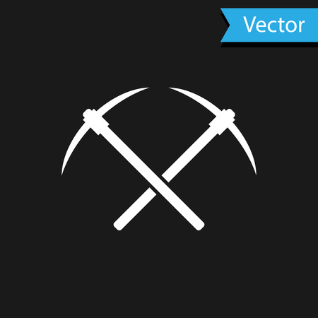 White Crossed pickaxe icon isolated on black background. Blockchain technology, cryptocurrency mining, bitcoin, altcoins, digital money market. Vector Illustration
