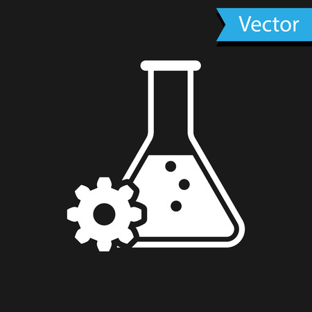 White Bioengineering icon isolated on black background. Element of genetics and bioengineering icon. Biology, molecule, chemical icon. Vector Illustration Vettoriali