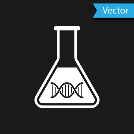White DNA research, search icon isolated on black background. Genetic engineering, genetics testing, cloning, paternity testing. Vector Illustration