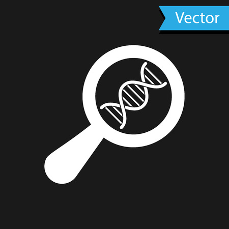 White DNA research, search icon isolated on black background. Magnifying glass and dna chain. Genetic engineering, cloning, paternity testing. Vector Illustration