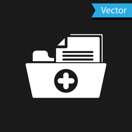 White Medical health record folder for healthcare icon isolated on black background. Patient file icon. Medical history symbol. Vector Illustration