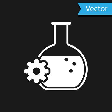 White Bioengineering icon isolated on black background. Element of genetics and bioengineering icon. Biology, molecule, chemical icon. Vector Illustration Illustration